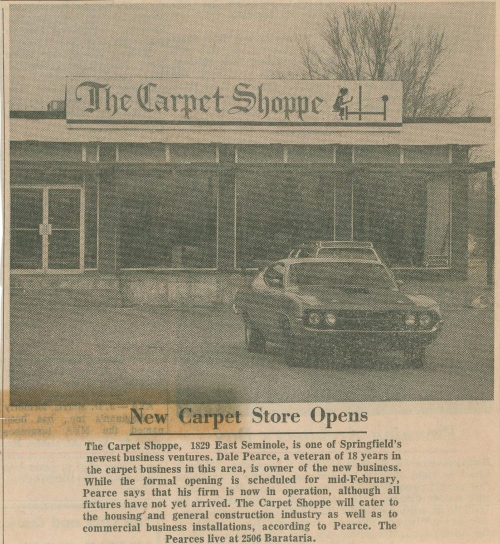 A newspaper clipping from The Carpet Shoppe highlights the store opening.
