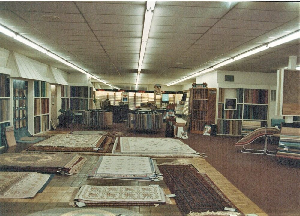 The Carpet Shoppe's selection of area rugs line the showroom in the 1980s.
