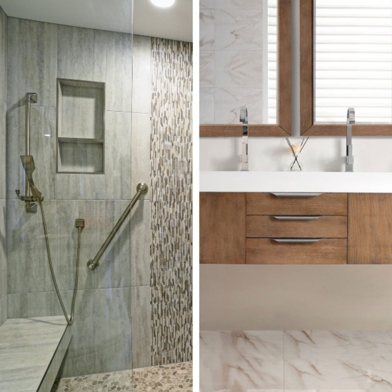 Two images. The image on the left is a shower with gray tiles and an accent strip. The wall has a grab bar and inset shelf. The image on the right is of a floating vanity with two sinks.