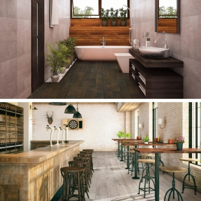 A split image with the top half showing a dark bathroom with dark wood look floors. The bottom half shows a bar area with light gray wood look floors.