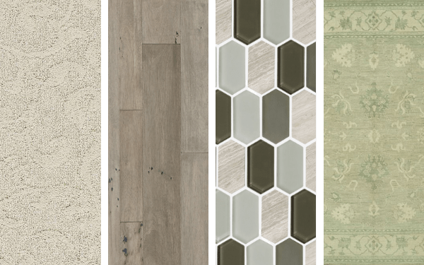 Four images showing a carpet, hardwood, tile, and area rug swatch