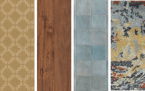 Four images showing a carpet, vinyl, tile, and area rug swatch