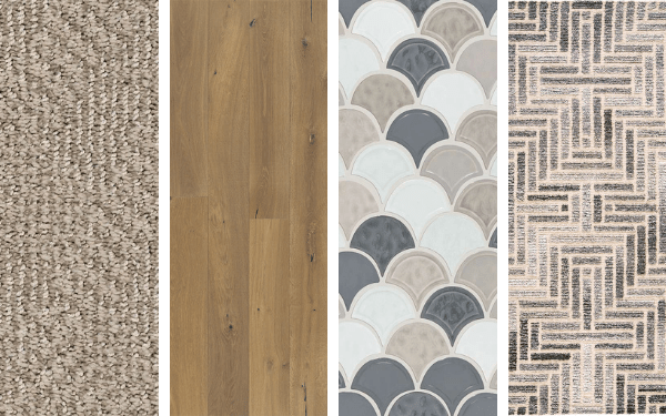 Four images showing a carpet, hardwood, tile, and area rug swatch.