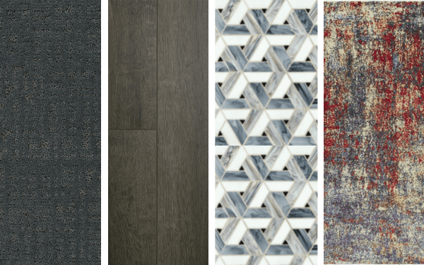 A collection of four images showing a carpet, laminate, tile, and rug swatch.