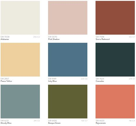 A collection of 9 colors from Sherwin William's 2022 color forecast
